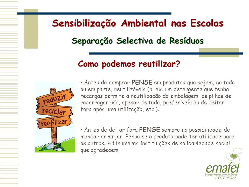 Sensibilização Ambiental nas Escolas Separação Selectiva de Resíduos Como podemos reutilizar? Antes de comprar PENSE em produtos que sejam, no todo ou
