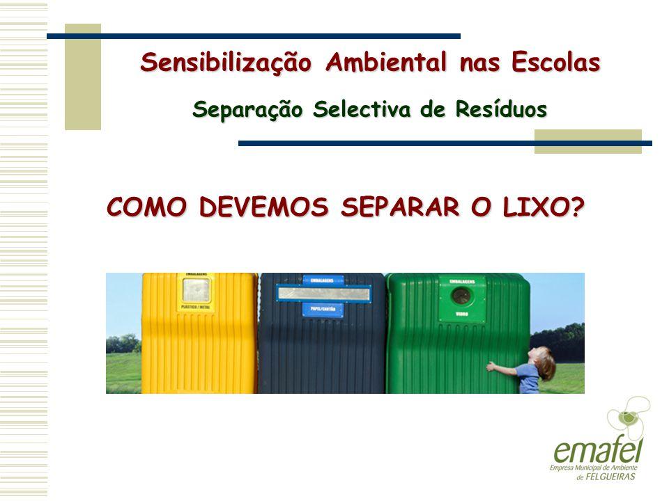 COMO DEVEMOS SEPARAR O LIXO? Sensibilização Ambiental nas Escolas Separação Selectiva de Resíduos