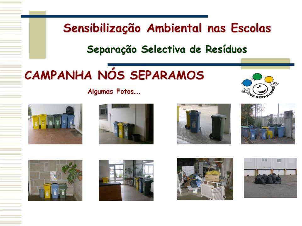CAMPANHA NÓS SEPARAMOS Algumas Fotos…. Sensibilização Ambiental nas Escolas Separação Selectiva de Resíduos
