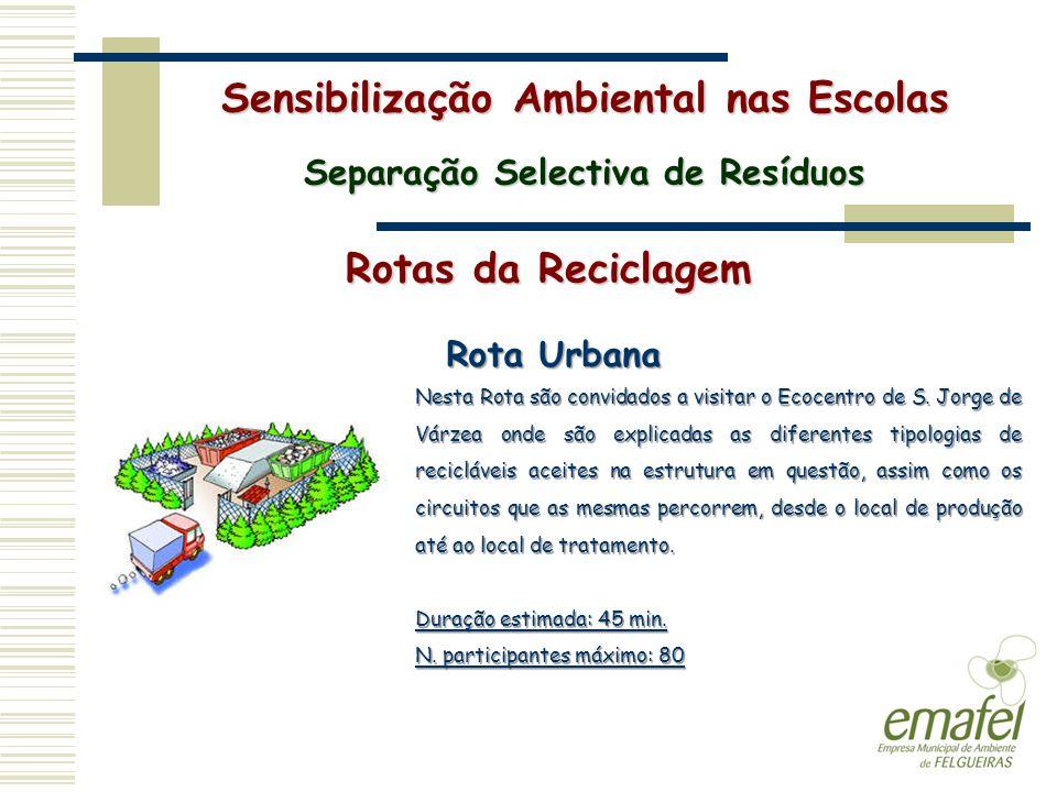 Rotas da Reciclagem Sensibilização Ambiental nas Escolas Separação Selectiva de Resíduos Rota Urbana Nesta Rota são convidados a visitar o Ecocentro d