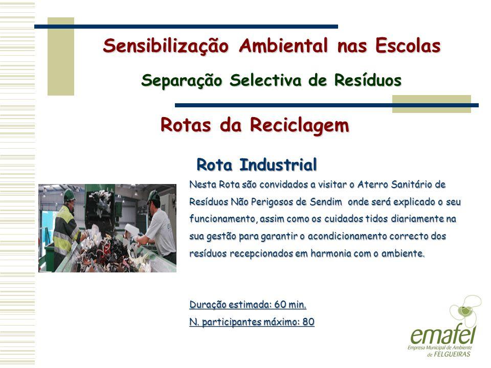 Rotas da Reciclagem Sensibilização Ambiental nas Escolas Separação Selectiva de Resíduos Rota Industrial Nesta Rota são convidados a visitar o Aterro