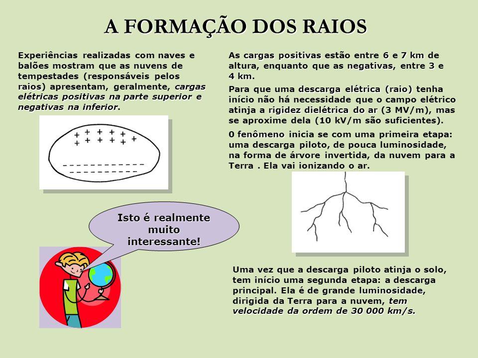 A FORMAÇÃO DOS RAIOS raioscargas elétricas positivas na parte superior e negativas na inferior Experiências realizadas com naves e balões mostram que