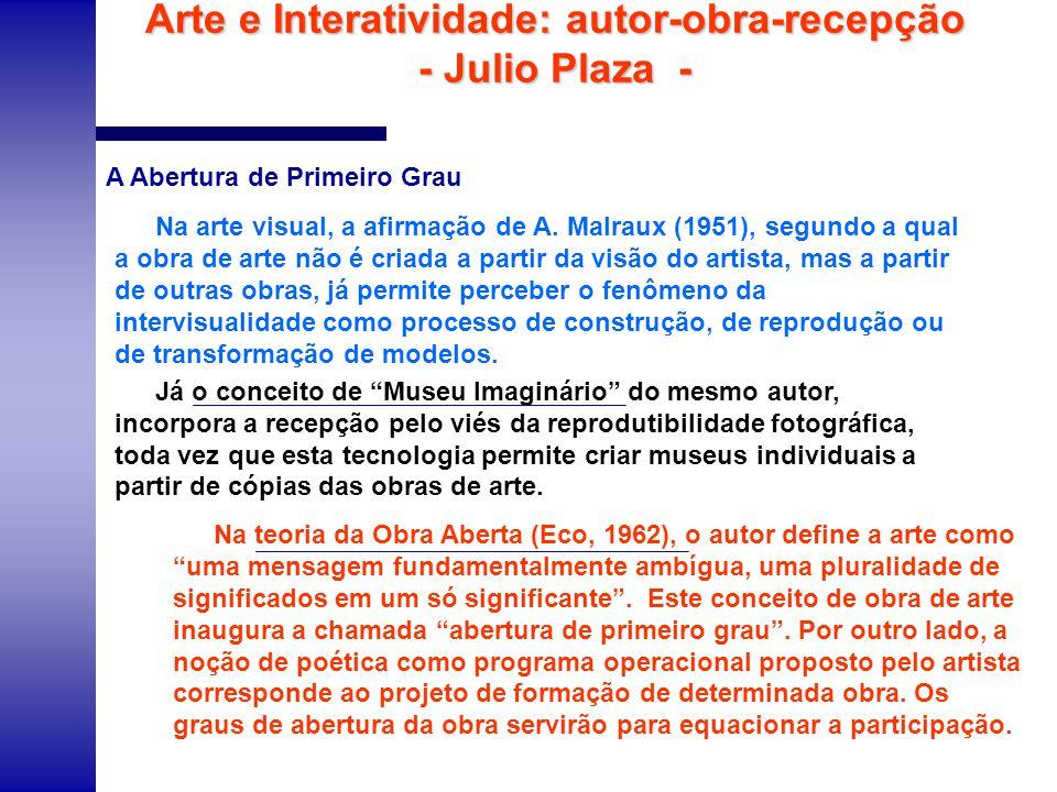 Arte e Interatividade: autor-obra-recepção - Julio Plaza - Na arte visual, a afirmação de A. Malraux (1951), segundo a qual a obra de arte não é criad
