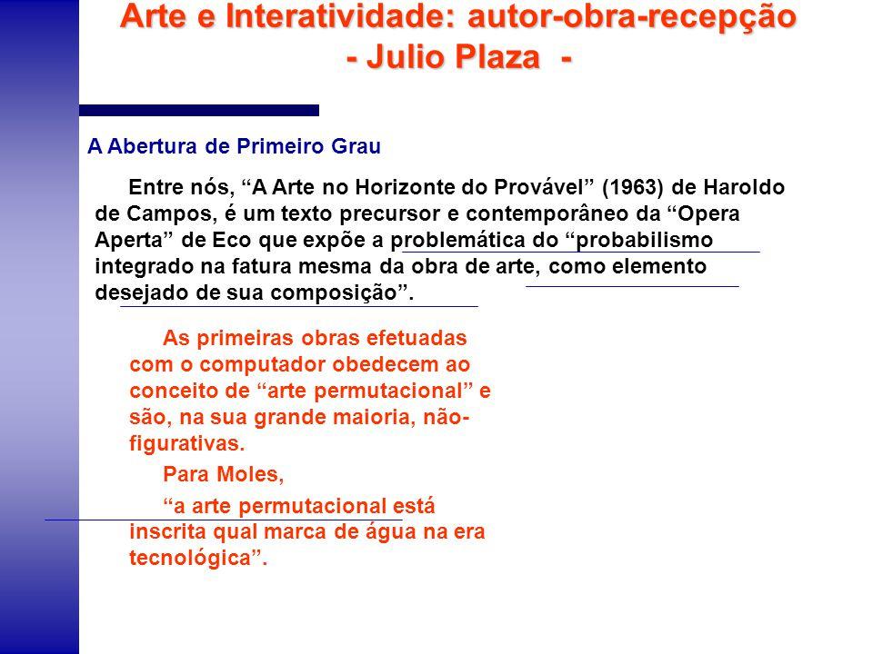 Arte e Interatividade: autor-obra-recepção - Julio Plaza - Entre nós, A Arte no Horizonte do Provável (1963) de Haroldo de Campos, é um texto precurso