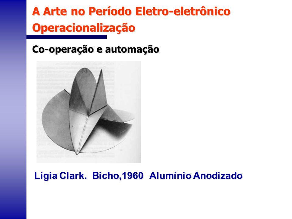 A Arte no Período Eletro-eletrônico Operacionalização Co-operação e automação Lígia Clark. Bicho,1960 Alumínio Anodizado
