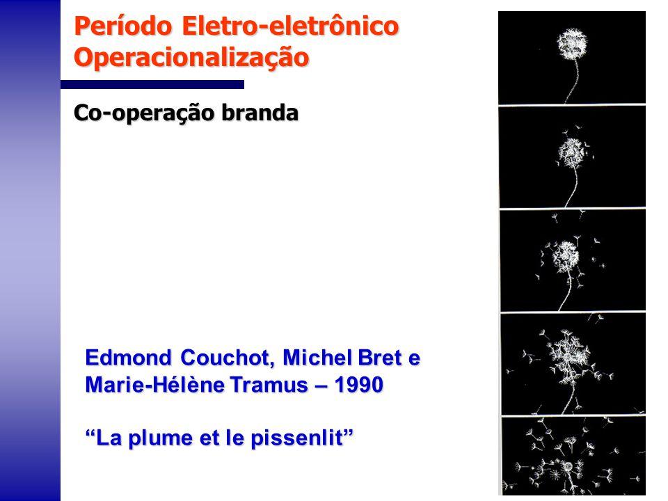 Período Eletro-eletrônico Operacionalização Co-operação branda Edmond Couchot, Michel Bret e Marie-Hélène Tramus – 1990 La plume et le pissenlit