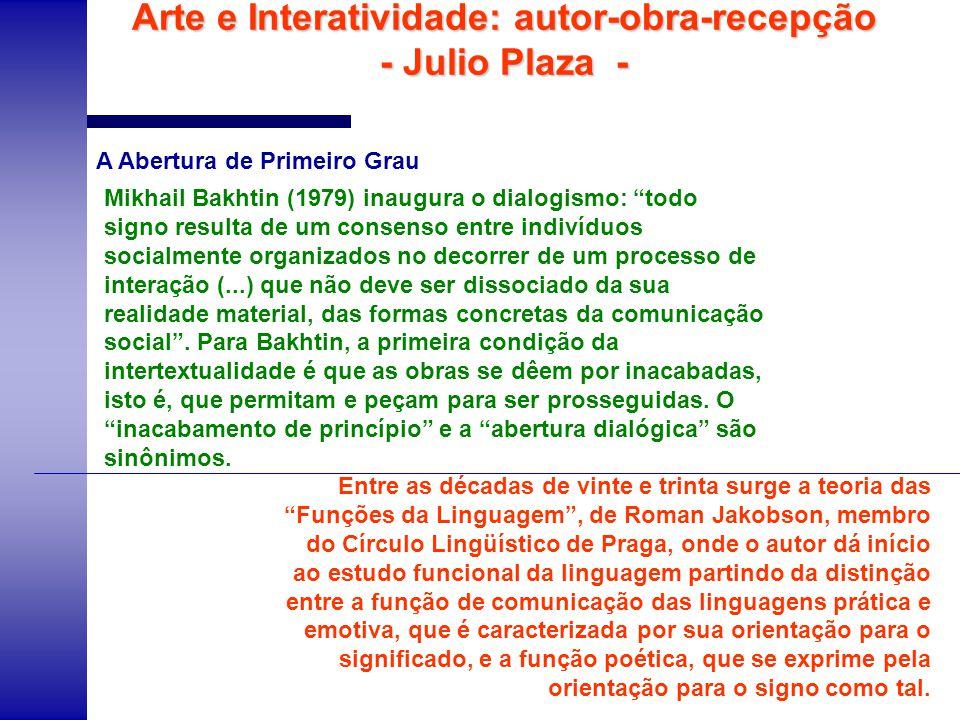 Arte e Interatividade: autor-obra-recepção - Julio Plaza - Na arte visual, a afirmação de A.