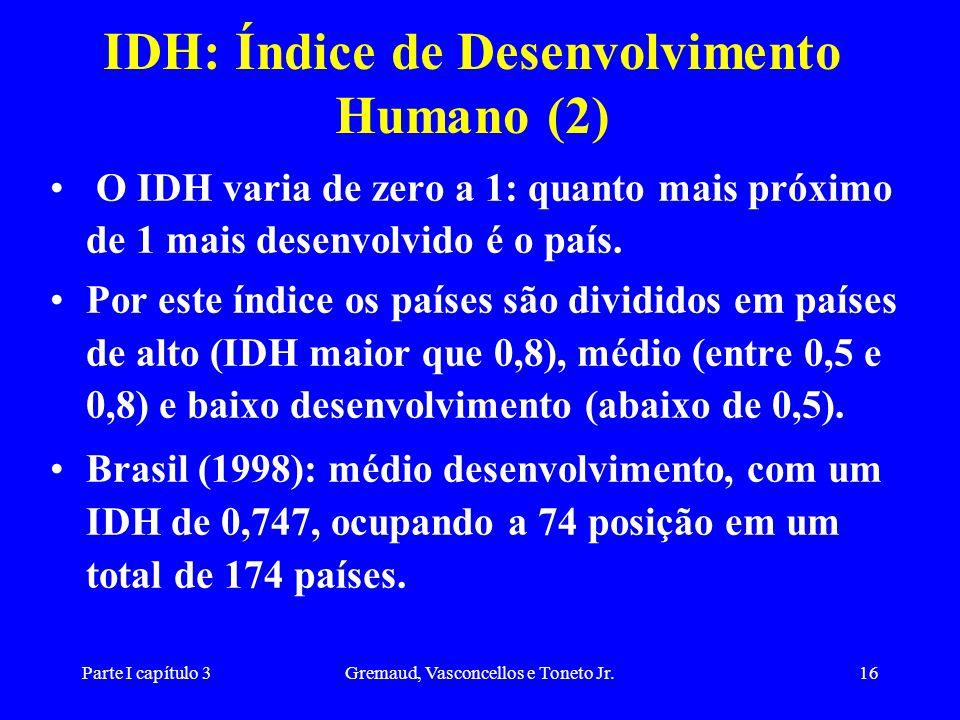 Parte I capítulo 3Gremaud, Vasconcellos e Toneto Jr.16 IDH: Índice de Desenvolvimento Humano (2) O IDH varia de zero a 1: quanto mais próximo de 1 mai