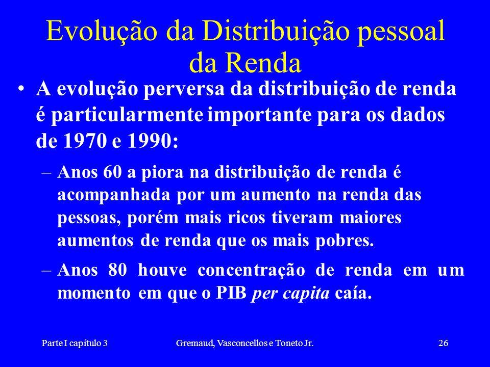 Parte I capítulo 3Gremaud, Vasconcellos e Toneto Jr.26 Evolução da Distribuição pessoal da Renda A evolução perversa da distribuição de renda é partic