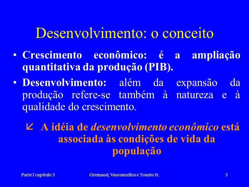 Parte I capítulo 3Gremaud, Vasconcellos e Toneto Jr.34 Desenvolvimento: eqüitativo, sustentado e participativo (2) Desenvolvimento sustentado – a satisfação das necessidades presentes não deve limitar o atendimento das necessidades das gerações futuras.
