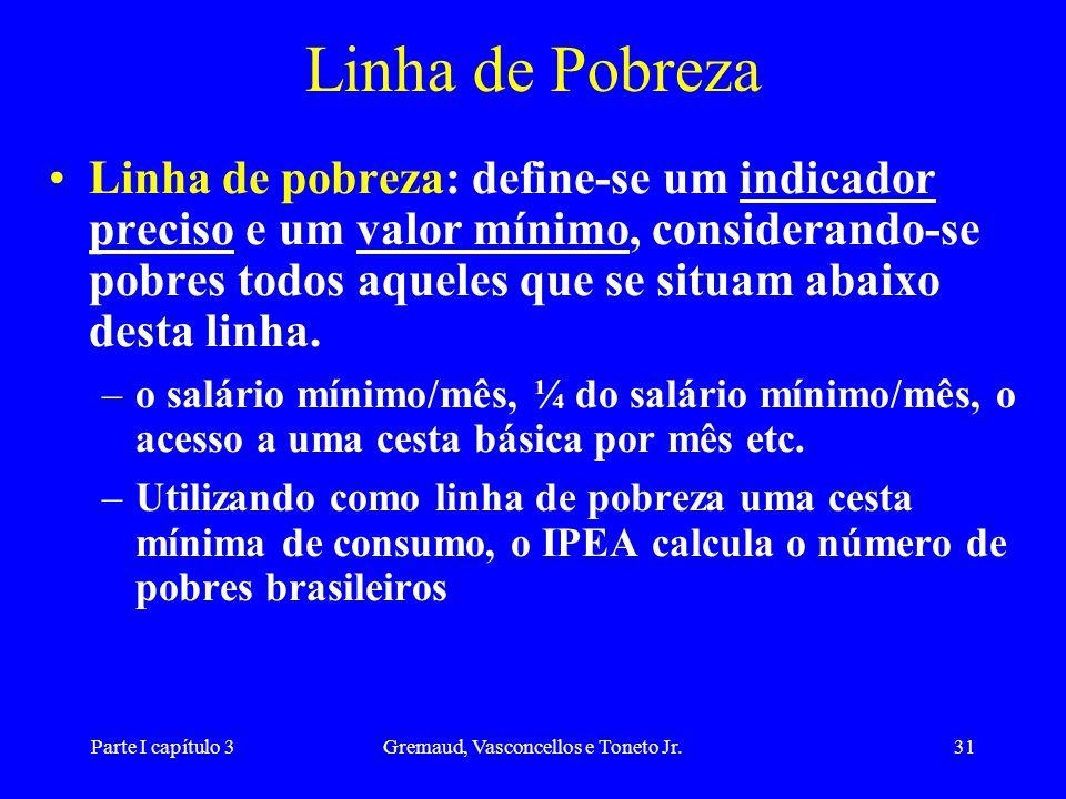 Parte I capítulo 3Gremaud, Vasconcellos e Toneto Jr.31 Linha de Pobreza Linha de pobreza: define-se um indicador preciso e um valor mínimo, consideran