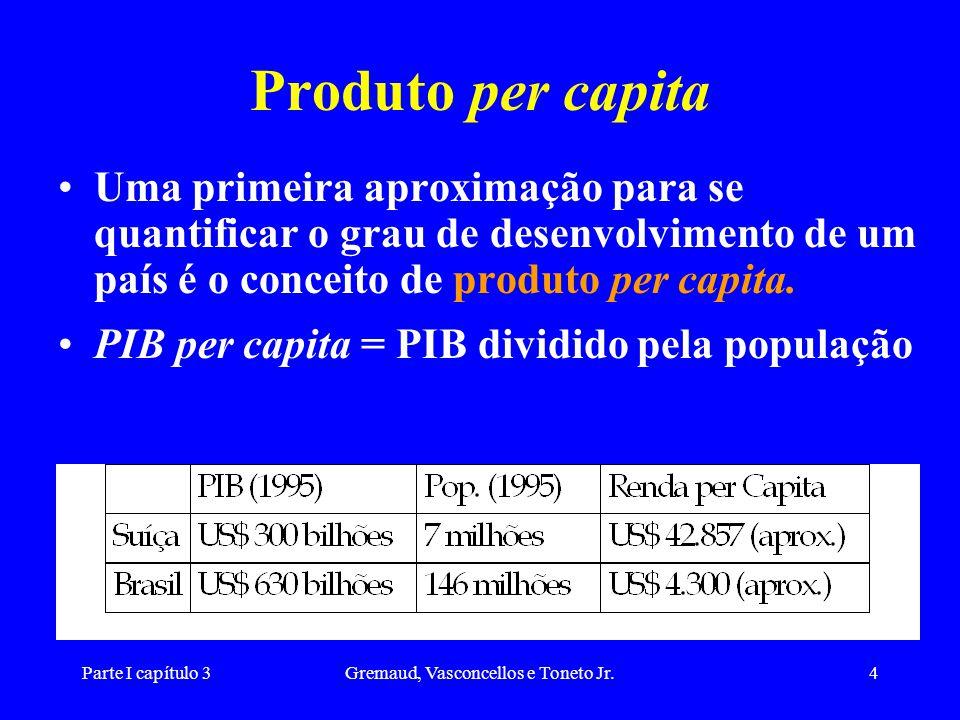 Parte I capítulo 3Gremaud, Vasconcellos e Toneto Jr.4 Produto per capita Uma primeira aproximação para se quantificar o grau de desenvolvimento de um