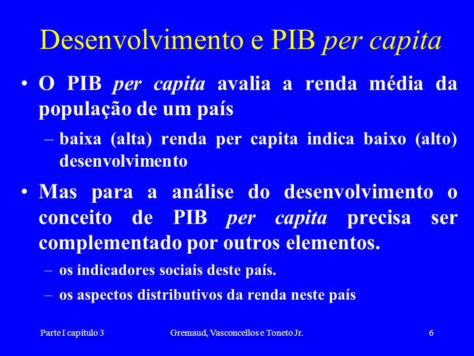 Parte I capítulo 3Gremaud, Vasconcellos e Toneto Jr.6 Desenvolvimento e PIB per capita O PIB per capita avalia a renda média da população de um país –
