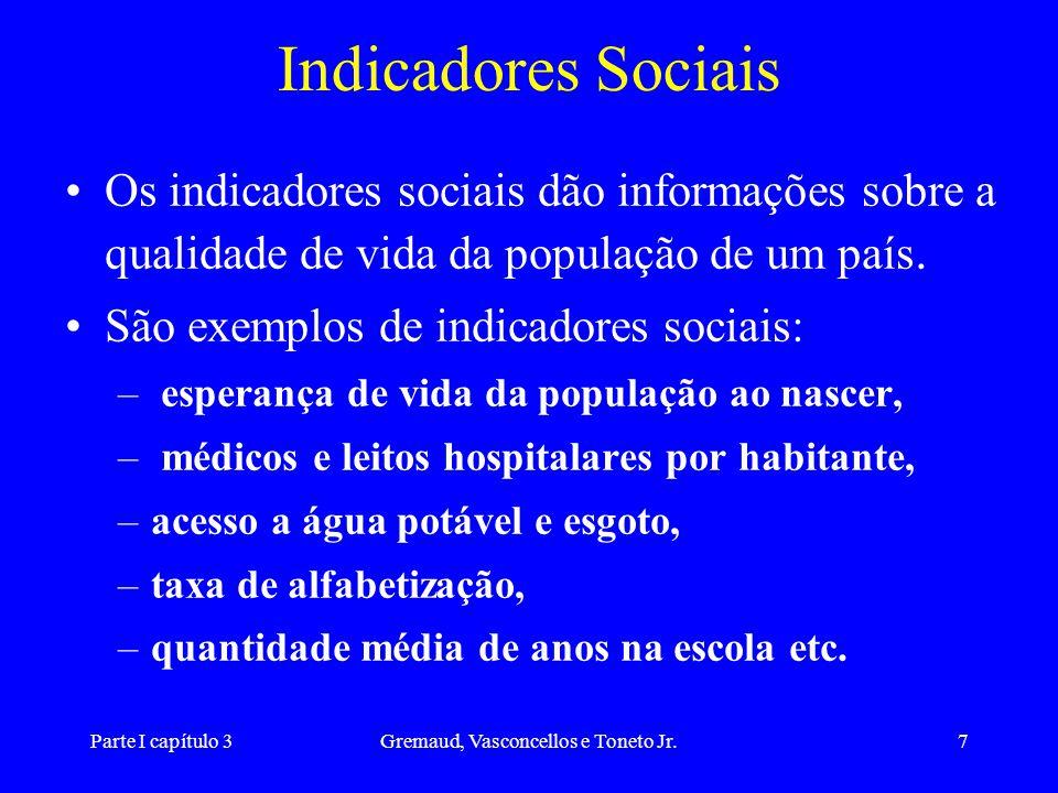 Parte I capítulo 3Gremaud, Vasconcellos e Toneto Jr.7 Indicadores Sociais Os indicadores sociais dão informações sobre a qualidade de vida da populaçã
