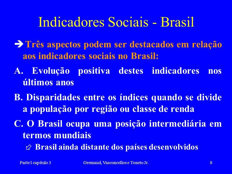 Parte I capítulo 3Gremaud, Vasconcellos e Toneto Jr.8 Indicadores Sociais - Brasil Três aspectos podem ser destacados em relação aos indicadores socia