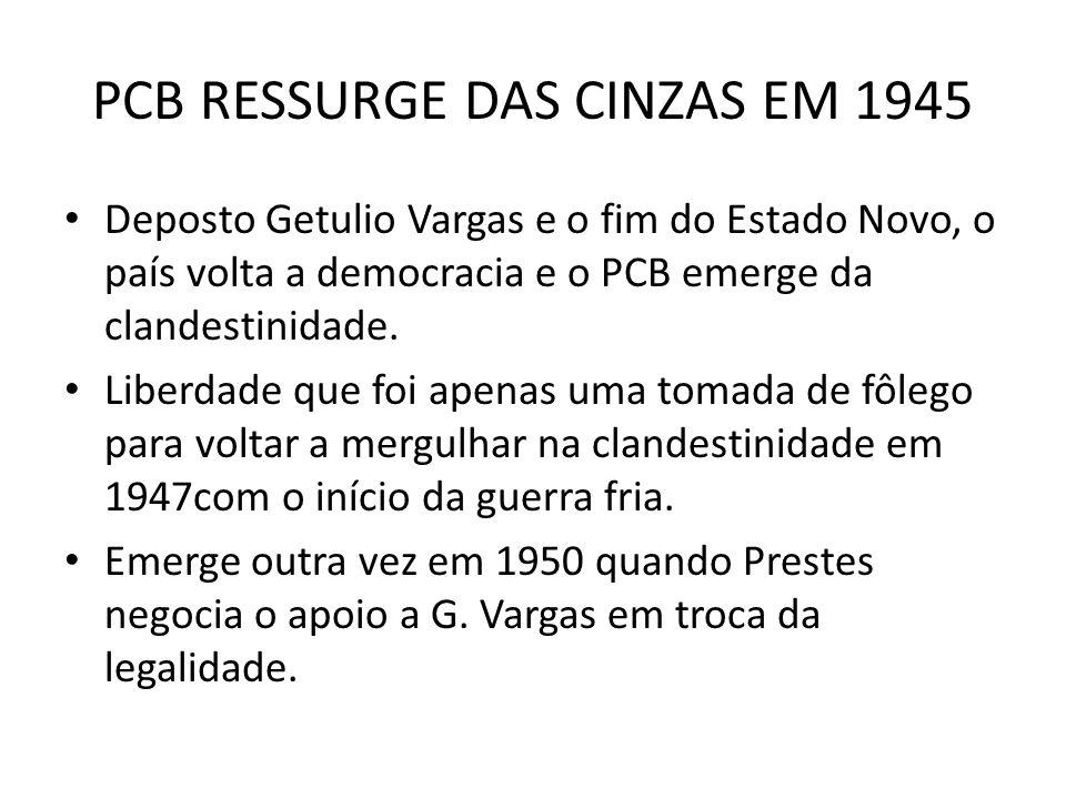 PCB RESSURGE DAS CINZAS EM 1945 Deposto Getulio Vargas e o fim do Estado Novo, o país volta a democracia e o PCB emerge da clandestinidade. Liberdade