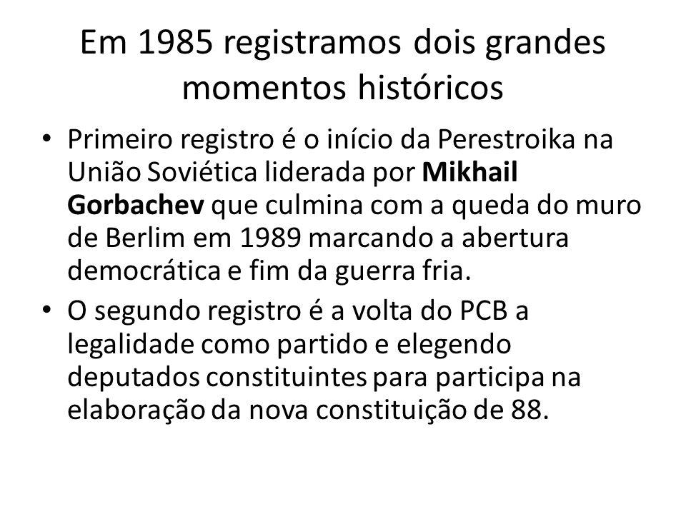 Em 1985 registramos dois grandes momentos históricos Primeiro registro é o início da Perestroika na União Soviética liderada por Mikhail Gorbachev que