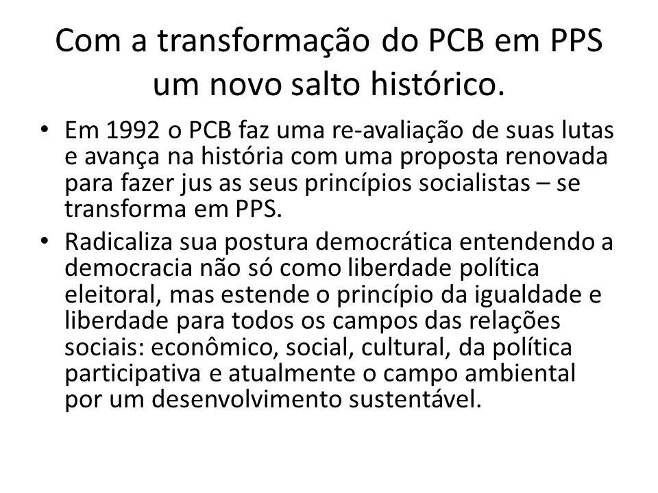 Com a transformação do PCB em PPS um novo salto histórico. Em 1992 o PCB faz uma re-avaliação de suas lutas e avança na história com uma proposta reno