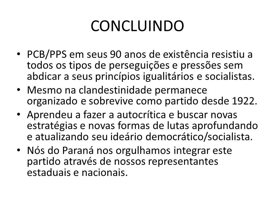 CONCLUINDO PCB/PPS em seus 90 anos de existência resistiu a todos os tipos de perseguições e pressões sem abdicar a seus princípios igualitários e soc