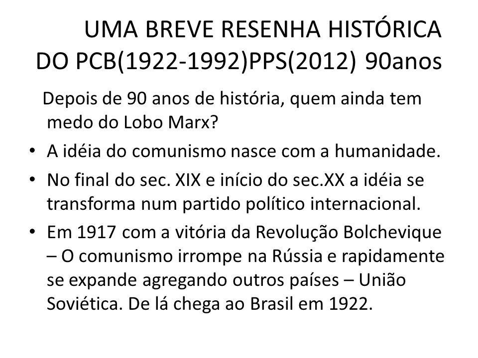 UMA BREVE RESENHA HISTÓRICA DO PCB(1922-1992)PPS(2012) 90anos Depois de 90 anos de história, quem ainda tem medo do Lobo Marx? A idéia do comunismo na