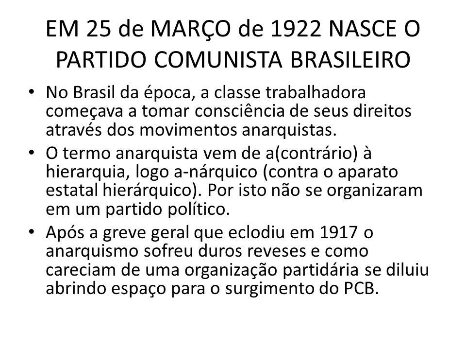 EM 25 de MARÇO de 1922 NASCE O PARTIDO COMUNISTA BRASILEIRO No Brasil da época, a classe trabalhadora começava a tomar consciência de seus direitos at