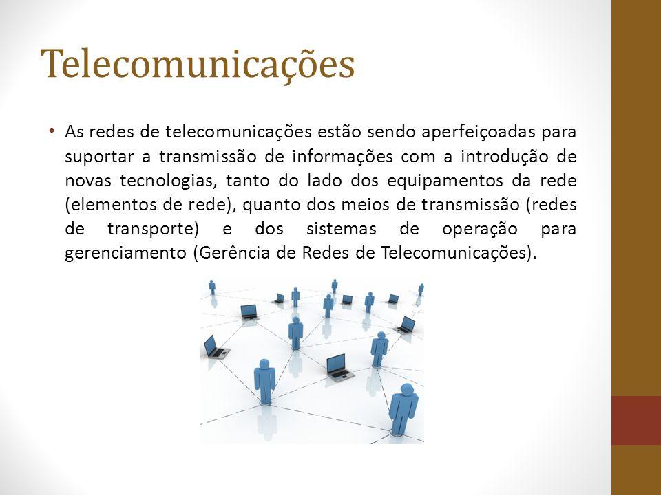 Telecomunicações As redes de telecomunicações estão sendo aperfeiçoadas para suportar a transmissão de informações com a introdução de novas tecnologias, tanto do lado dos equipamentos da rede (elementos de rede), quanto dos meios de transmissão (redes de transporte) e dos sistemas de operação para gerenciamento (Gerência de Redes de Telecomunicações).