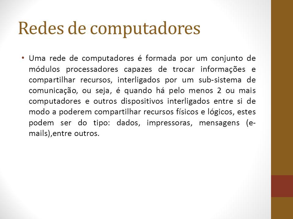 Redes de computadores Uma rede de computadores é formada por um conjunto de módulos processadores capazes de trocar informações e compartilhar recurso