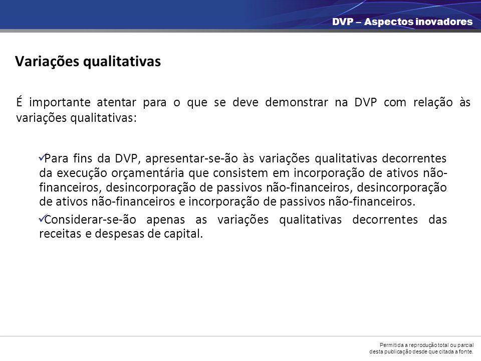 Permitida a reprodução total ou parcial desta publicação desde que citada a fonte. Variações qualitativas Para fins da DVP, apresentar-se-ão às variaç