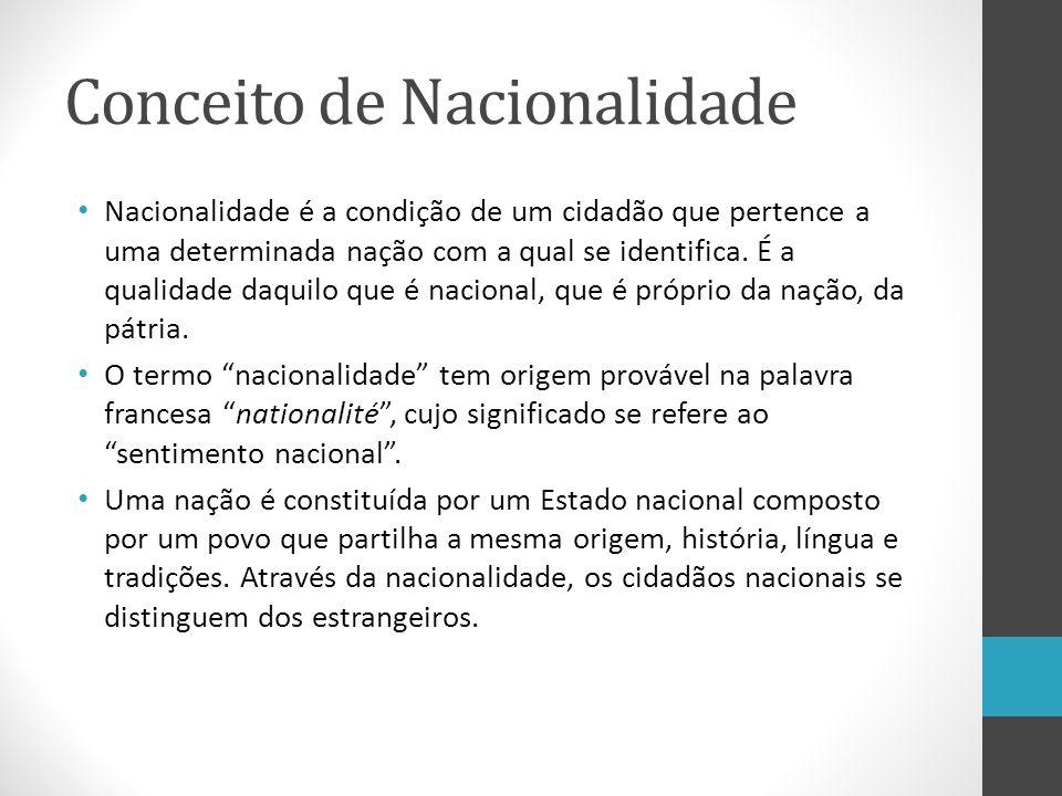 Conceito de Nacionalidade Nacionalidade é a condição de um cidadão que pertence a uma determinada nação com a qual se identifica. É a qualidade daquil
