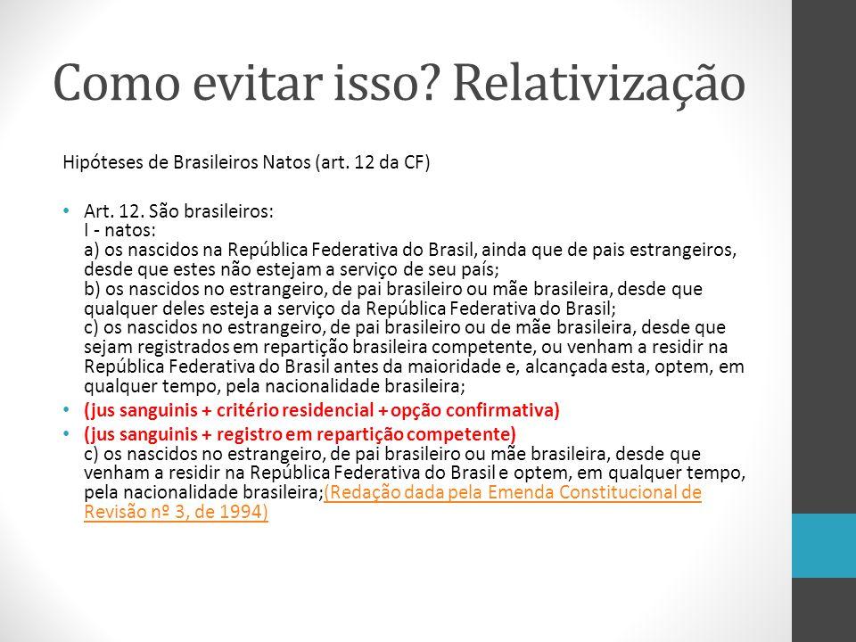 Como evitar isso? Relativização Hipóteses de Brasileiros Natos (art. 12 da CF) Art. 12. São brasileiros: I - natos: a) os nascidos na República Federa