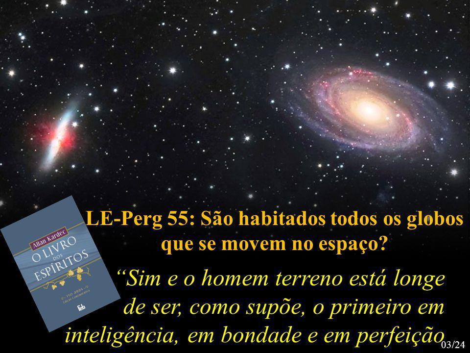 Sim e o homem terreno está longe de ser, como supõe, o primeiro em inteligência, em bondade e em perfeição LE-Perg 55: São habitados todos os globos que se movem no espaço.