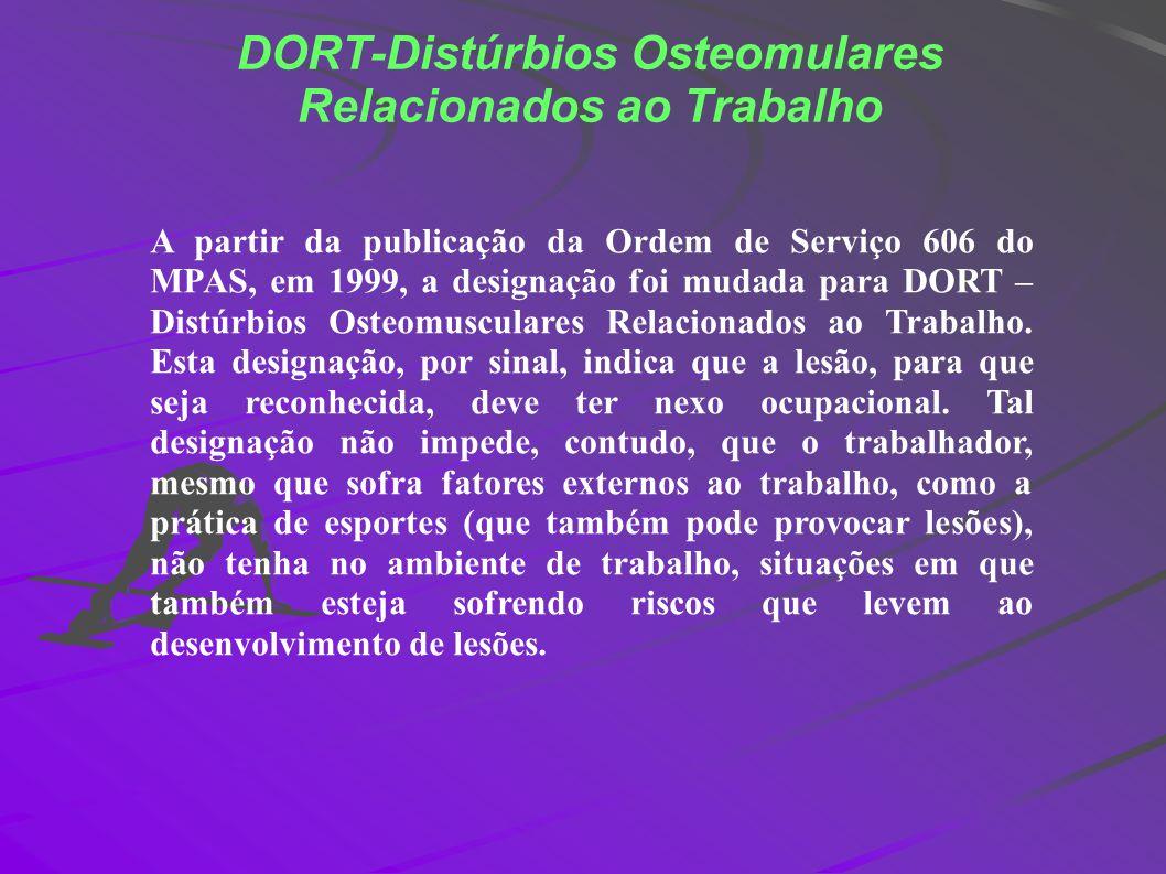 DORT-Distúrbios Osteomulares Relacionados ao Trabalho A partir da publicação da Ordem de Serviço 606 do MPAS, em 1999, a designação foi mudada para DO