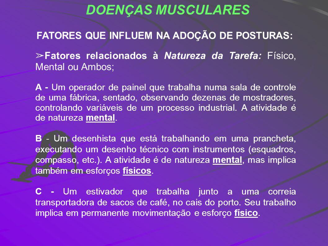 DOENÇAS MUSCULARES FATORES QUE INFLUEM NA ADOÇÃO DE POSTURAS: Fatores relacionados à Natureza da Tarefa: Físico, Mental ou Ambos; A - Um operador de p