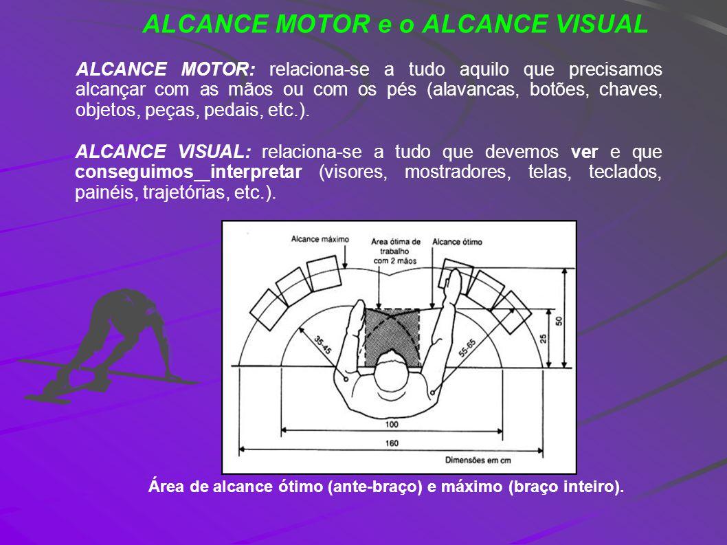 ALCANCE MOTOR e o ALCANCE VISUAL ALCANCE MOTOR: relaciona-se a tudo aquilo que precisamos alcançar com as mãos ou com os pés (alavancas, botões, chave