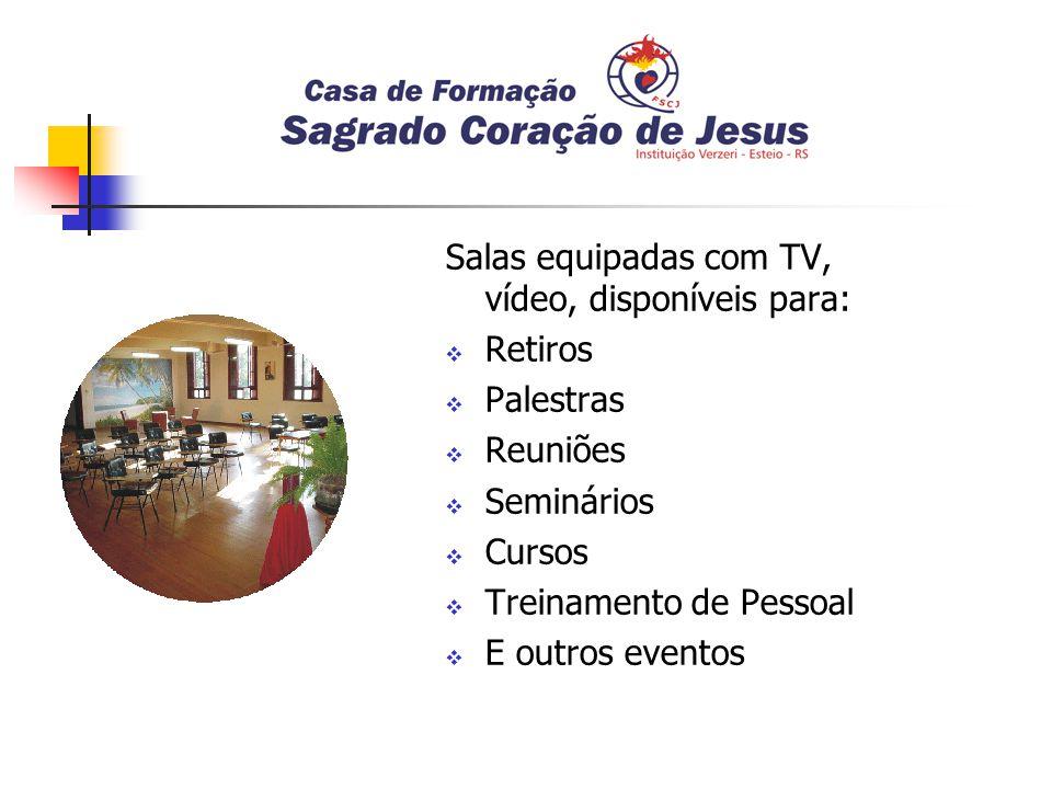 Salas equipadas com TV, vídeo, disponíveis para: Retiros Palestras Reuniões Seminários Cursos Treinamento de Pessoal E outros eventos