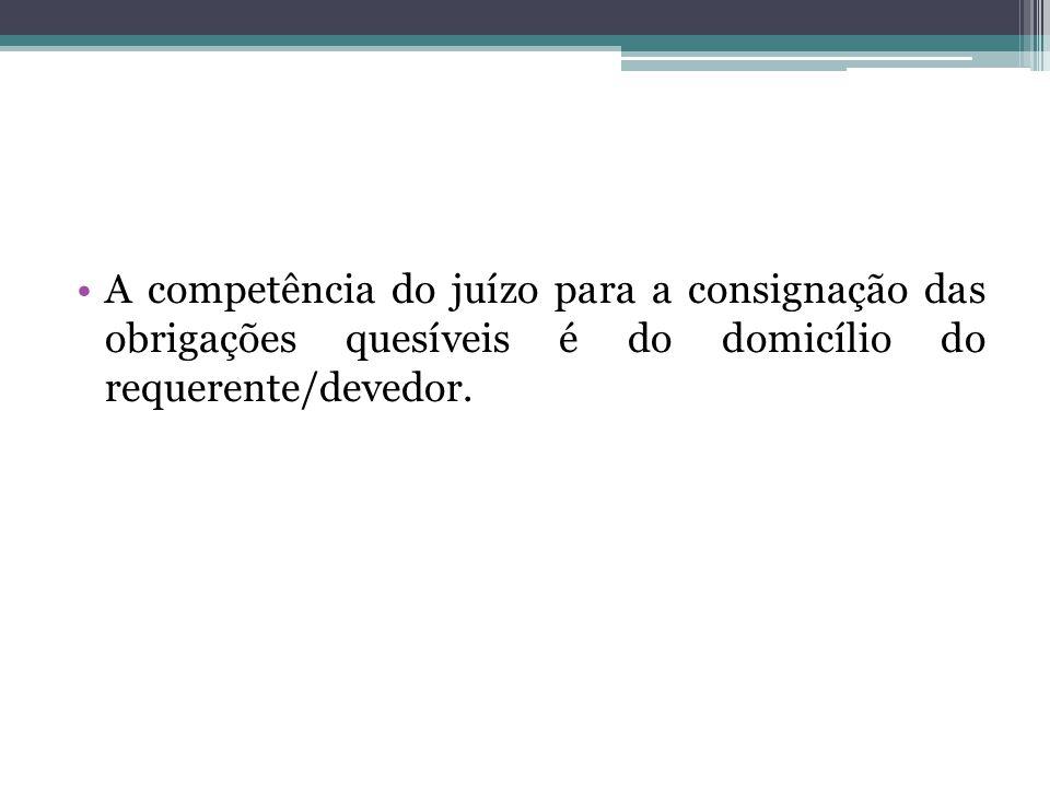 A competência do juízo para a consignação das obrigações quesíveis é do domicílio do requerente/devedor.