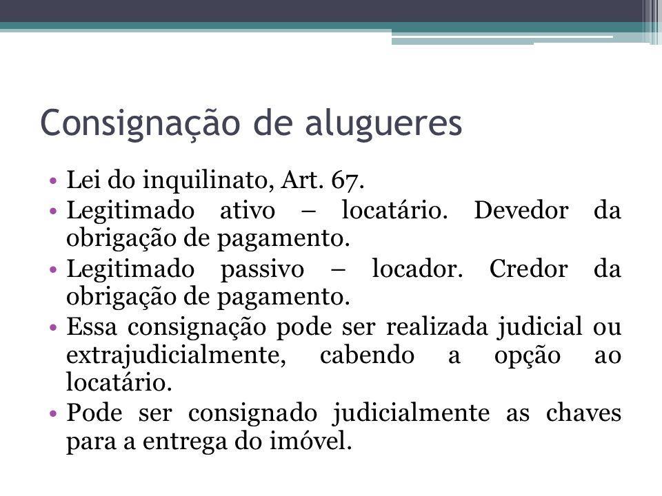 Consignação de alugueres Lei do inquilinato, Art.67.