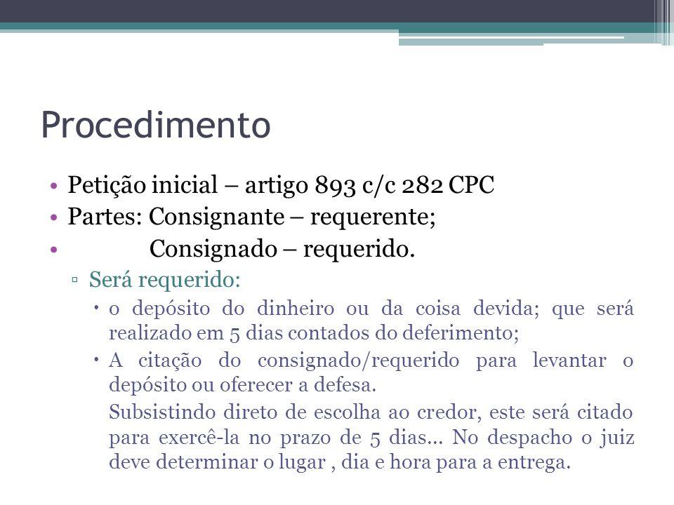 Procedimento Petição inicial – artigo 893 c/c 282 CPC Partes: Consignante – requerente; Consignado – requerido.