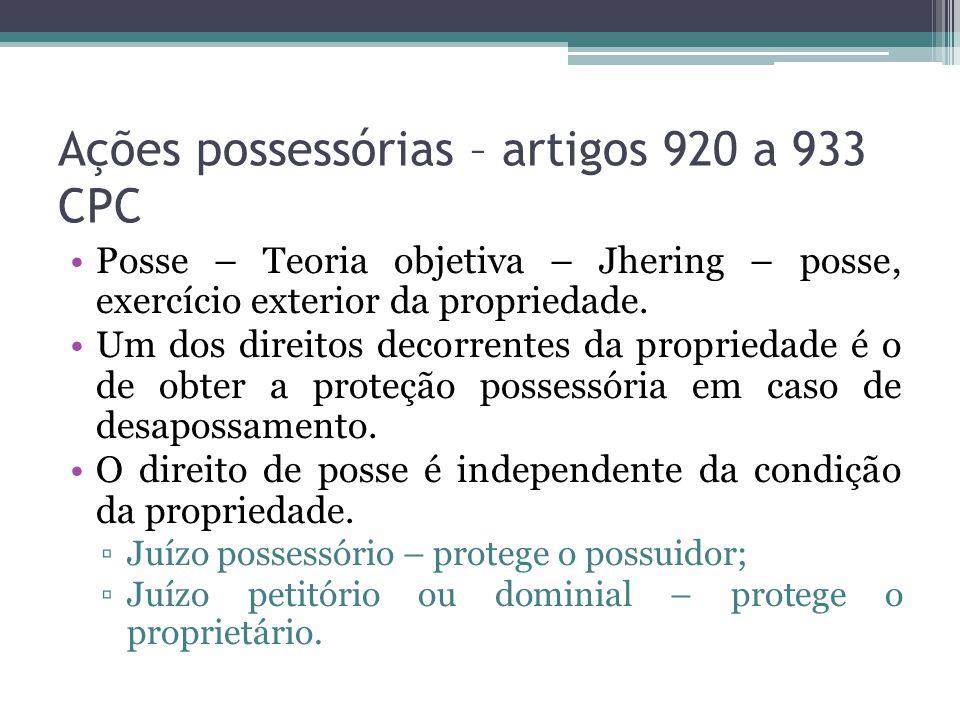 Ações possessórias – artigos 920 a 933 CPC Posse – Teoria objetiva – Jhering – posse, exercício exterior da propriedade.