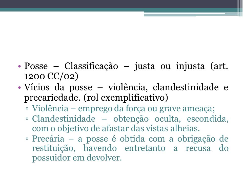 Posse – Classificação – justa ou injusta (art.