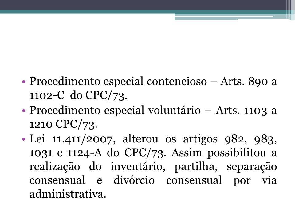 Procedimento especial contencioso – Arts.890 a 1102-C do CPC/73.