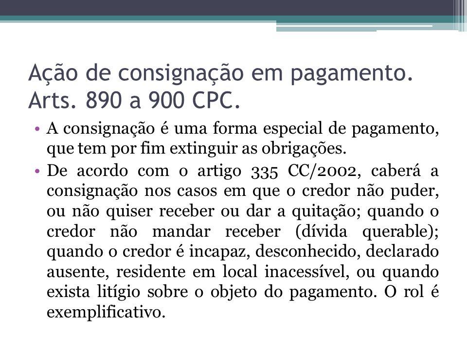 Ação de consignação em pagamento.Arts. 890 a 900 CPC.