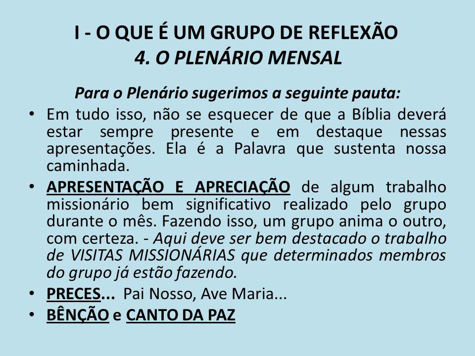 I - O QUE É UM GRUPO DE REFLEXÃO 4. O PLENÁRIO MENSAL Para o Plenário sugerimos a seguinte pauta: Em tudo isso, não se esquecer de que a Bíblia deverá