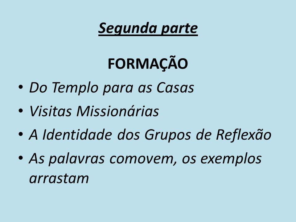 Segunda parte FORMAÇÃO Do Templo para as Casas Visitas Missionárias A Identidade dos Grupos de Reflexão As palavras comovem, os exemplos arrastam