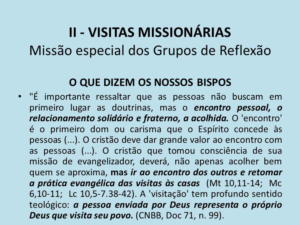 II - VISITAS MISSIONÁRIAS Missão especial dos Grupos de Reflexão O QUE DIZEM OS NOSSOS BISPOS