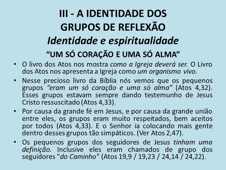 III - A IDENTIDADE DOS GRUPOS DE REFLEXÃO Identidade e espiritualidade UM SÓ CORAÇÃO E UMA SÓ ALMA O livro dos Atos nos mostra como a Igreja deverá se