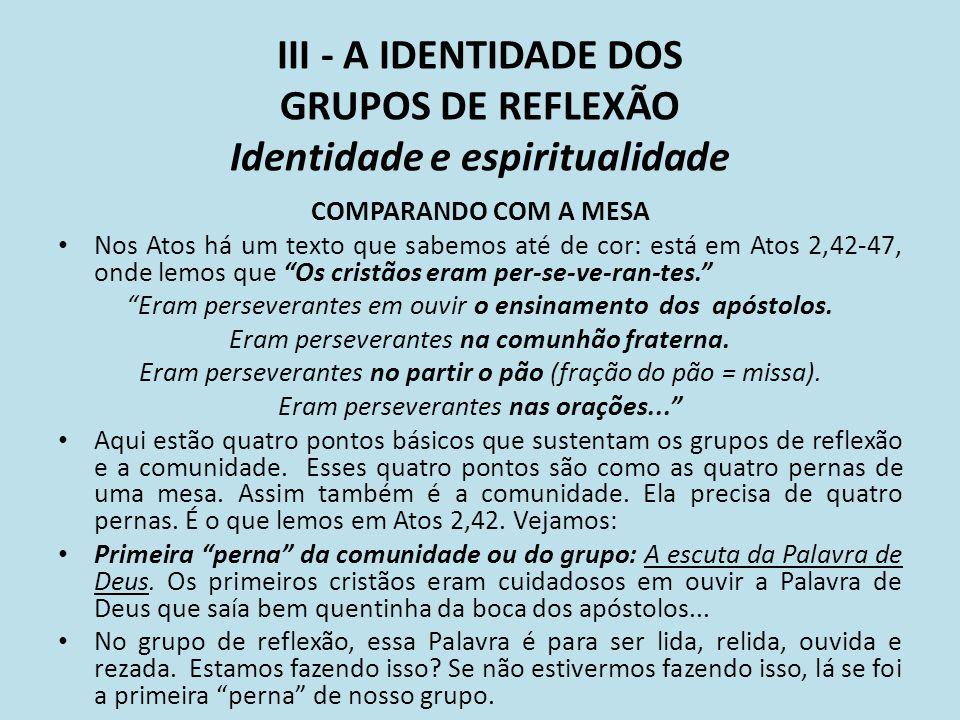 III - A IDENTIDADE DOS GRUPOS DE REFLEXÃO Identidade e espiritualidade COMPARANDO COM A MESA Nos Atos há um texto que sabemos até de cor: está em Atos