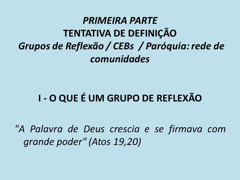PRIMEIRA PARTE TENTATIVA DE DEFINIÇÃO Grupos de Reflexão / CEBs / Paróquia: rede de comunidades I - O QUE É UM GRUPO DE REFLEXÃO