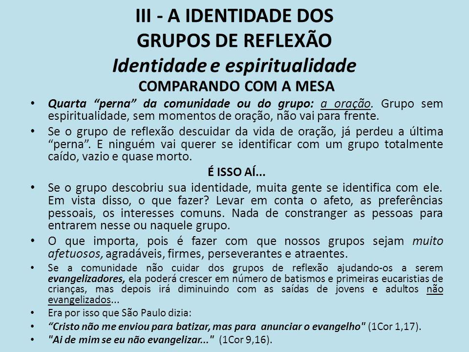 III - A IDENTIDADE DOS GRUPOS DE REFLEXÃO Identidade e espiritualidade COMPARANDO COM A MESA Quarta perna da comunidade ou do grupo: a oração. Grupo s