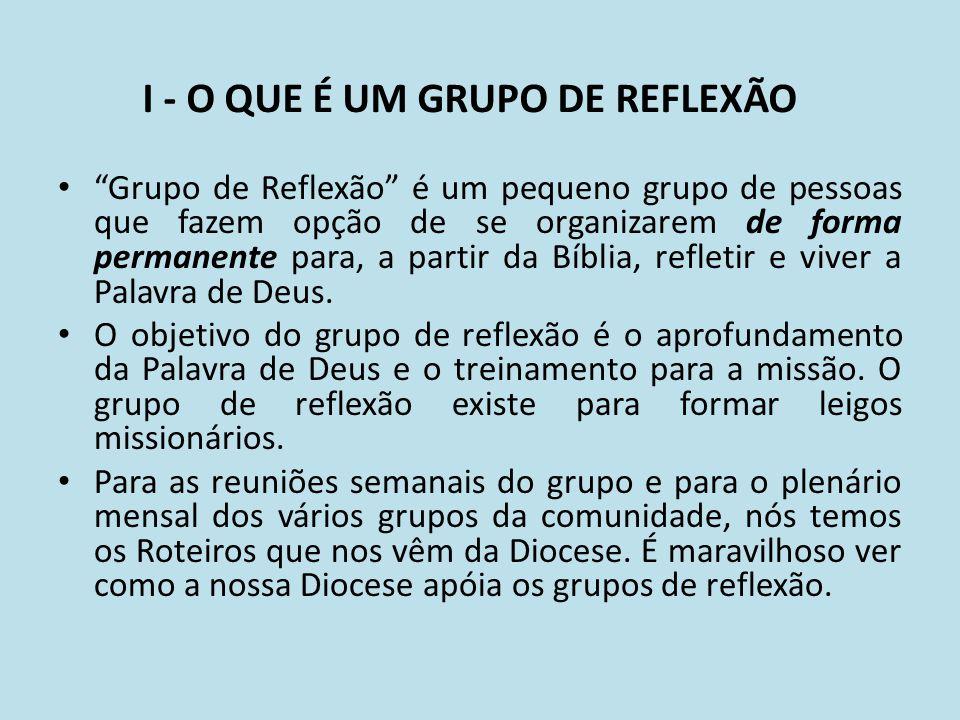 I - O QUE É UM GRUPO DE REFLEXÃO Grupo de Reflexão é um pequeno grupo de pessoas que fazem opção de se organizarem de forma permanente para, a partir